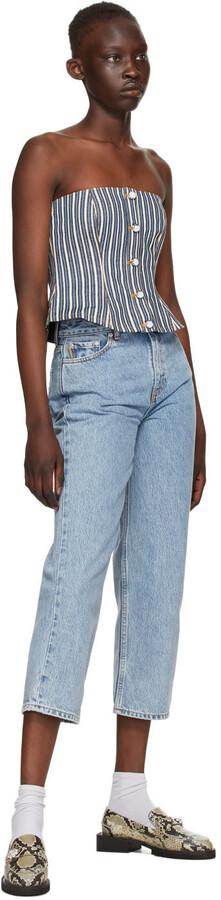 Thumbnail for your product : Ganni Indigo & White Denim Mixed Stripe Camisole