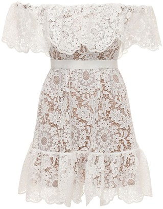 Self-Portrait Guipure Lace Off-The-Shoulder Mini Dress