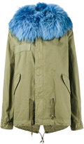 Mr & Mrs Italy Blue Raccoon Fur Trimmed Parka Jacket