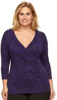 Dana Buchman Plus Size Faux-Wrap Top