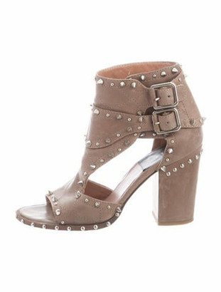 Laurence Dacade Leather Studded Accents Gladiator Sandals Grey