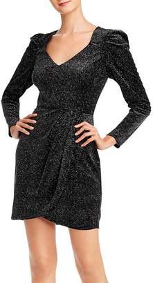 Aqua Glitter Velvet Puff-Sleeve Dress - 100% Exclusive