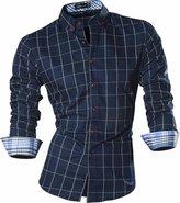 jeansian Men's Long Sleeves Plaid Slim Fit Button Down Dress Shirt 84N1 L
