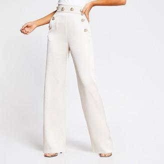 River Island Cream high button waist wide leg trousers