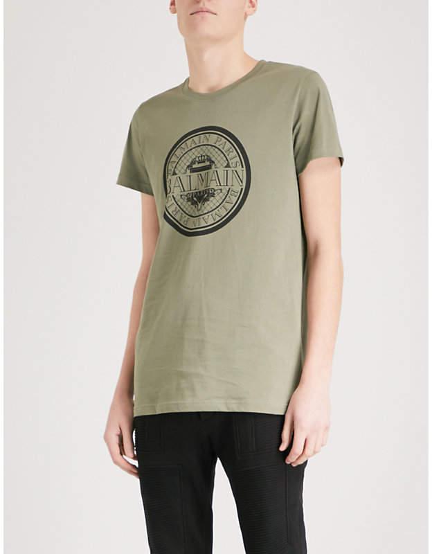 Balmain Monnaie logo-print cotton-jersey T-shirt