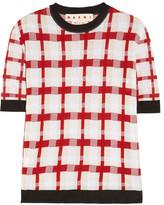 Marni Checked cotton-blend sweater