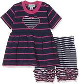 Lilly & Sid Baby Girl's Ruffle Hem Dress and Bloomer Pink/Navy Stripe Clothing Set, NA,3-6 Months