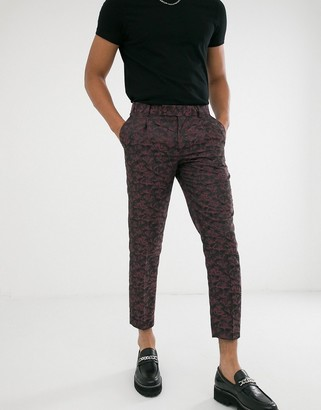 ASOS EDITION tapered crop smart pants in pink and purple floral jacquard