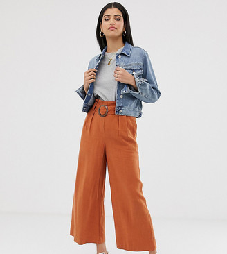 New Look Tall buckle detail pants in rust-Navy
