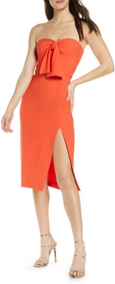 Finders Keepers Chiquita Tie Front Strapless Sheath Dress