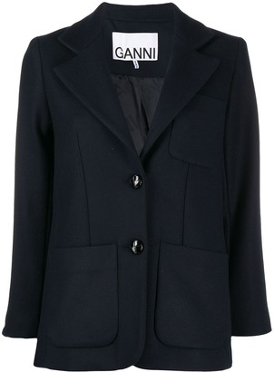 Ganni Patch-Pocket Single-Breasted Blazer