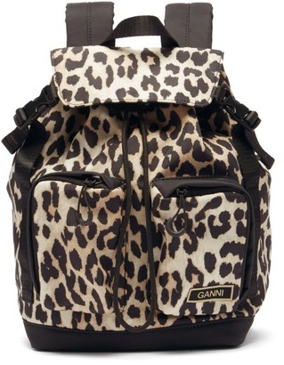 Ganni Leopard-print Recycled-fibre Shell Backpack - Leopard