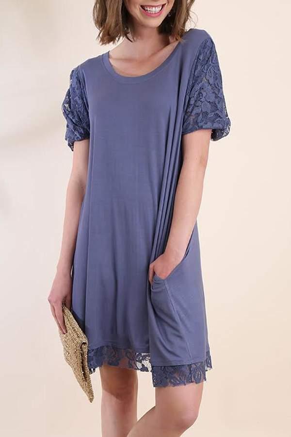 Umgee USA Blue Lace-Sleeve Dress