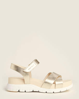 Cole Haan Gold Zerogrand Leather Sandals