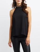 Charlotte Russe Grommet-Trim Halter OPen-Back Top