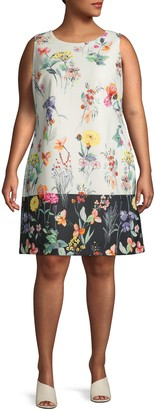 Adrianna Papell Plus Printed Shift Dress