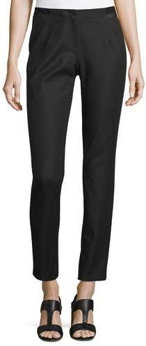 Lafayette 148 New York Stanton Ribbon-Trimmed Tapered Ankle Pants, Black, Plus Size