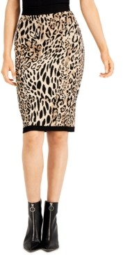Bar III Animal-Print Jacquard Sweater Skirt, Created for Macy's
