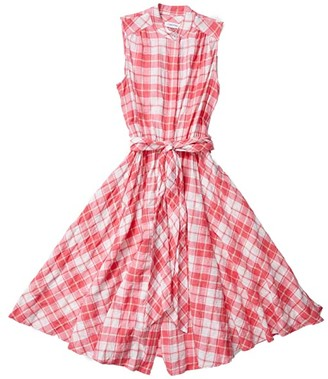 Calvin Klein Sleeveless Plaid Shirtdress with Self Tie Belt (Coral/White) Women's Dress