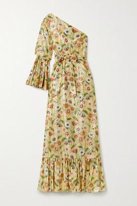 Borgo de Nor Regina One-sleeve Floral-print Fil Coupe Silk-blend Maxi Dress - Beige