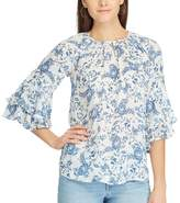 Chaps Women's Paisley Tiered-Sleeve Top