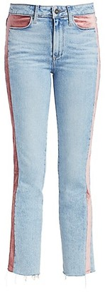 Paige Cindy High-Rise Ankle Straight-Leg Velvet-Trim Jeans