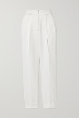 BLAZÉ MILANO Savannah Banker Linen And Silk-blend Straight-leg Pants - Ivory