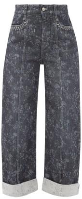 Chloé Floral-print Cropped Wide-leg Jeans - Grey