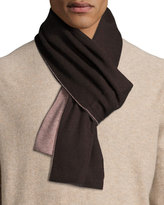 Portolano Two-Tone Knit Scarf, Espresso/Light Brown