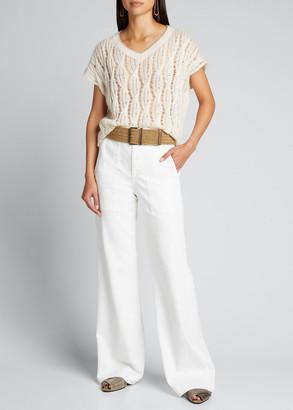 Brunello Cucinelli Cable-Knit Open Sweater w/ Contrast Trim