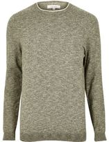 River Island Mens Green crew neck jumper