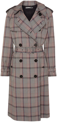 Stella McCartney Pleated Prince Of Wales Checked Belted Woven Trench Coat