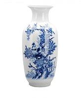 Dahlia Birds in Peony Bush Oriental Blue and White Porcelain Flower Vase, 15-inch, Melon Shaped
