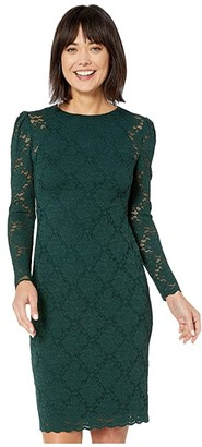 Lauren Ralph Lauren Scalloped Lace Dress (Dark Fern) Women's Clothing