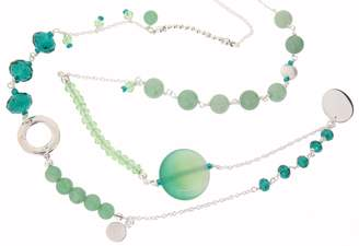 Earth Sterling 80cm Long Mixed Necklace with Green Aventurine Beads