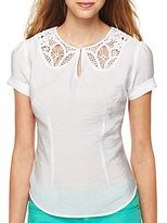 JCPenney I 'Heart' Ronson® Battenburg Lace Faux Collar Blouse