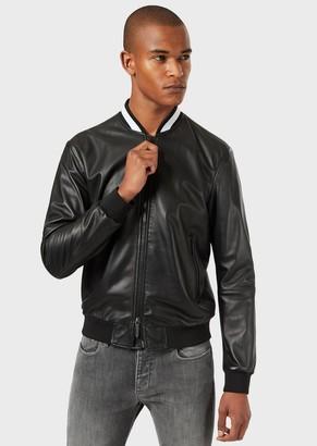 Emporio Armani Nappa-Lambskin Bomber Jacket With Jacquard Collar