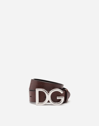 Dolce & Gabbana Leather Belt With Logo