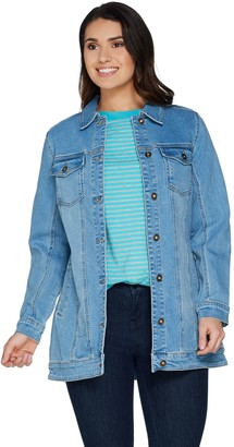 Denim & Co. Studio by Classic Denim Distressed Long Jean Jacket