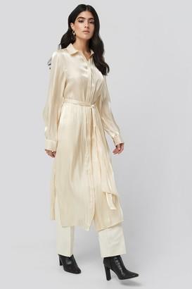 NA-KD Shiny Long Shirt Dress