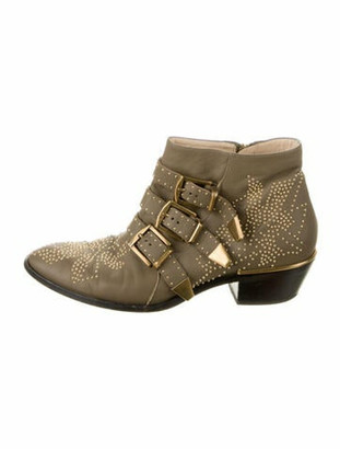 Chloé Susanna Leather Boots Green