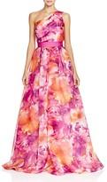 Carmen Marc Valvo One Shoulder Floral Print Gown
