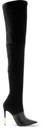 Balmain Amazone Suede And Leather Over-the-knee Boots