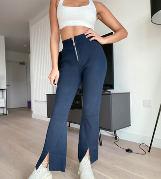 4th & Reckless Petite knitted flare pant in navy