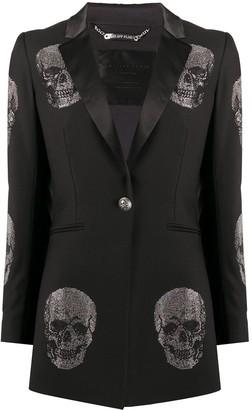 Philipp Plein Rhinestone-Embellished Skull Blazer