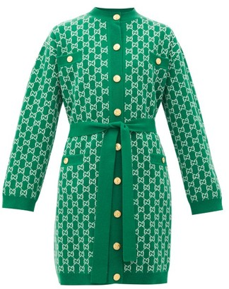 Gucci GG-jacquard Belted Wool Cardigan - Womens - Green