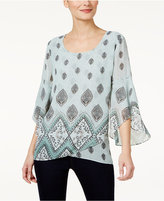 Style&Co. Style & Co Floral-Print Flutter-Sleeve Top, Only at Macy's