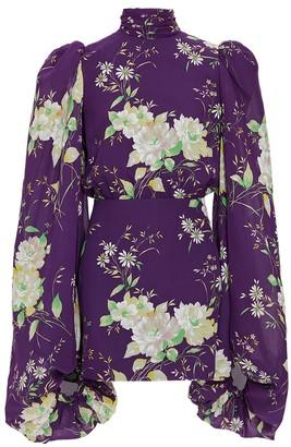 ATTICO Purple Floral Mini Dress