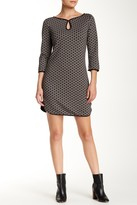 Max Studio 3/4 Length Sleeve Textured Shift Dress