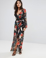 Lipsy Wrap Front Maxi Dress In Floral Print